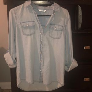 Baby blue soft button down shirt